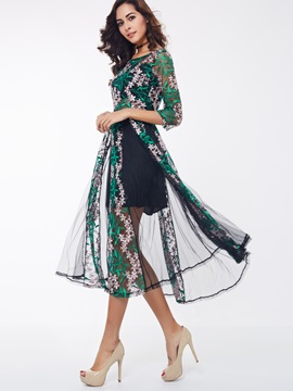 Floral Print Round Neck Patchwork Day Dress