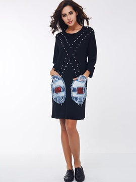 Chic Patchwork Long Sleeve Day Dress with Pocket