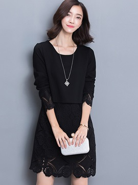 Solid Round Neck 3/4 Sleeve Lace Patchwork Day Dress