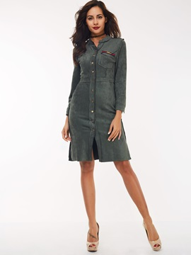 Nine Points Sleeve Patchwork Button Day Dress