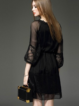 3/4 Sleeve Lace Patchwork Lace-Up Day Dress