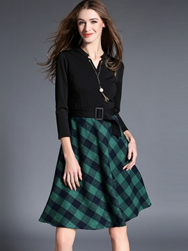 Plaid V-Neck Patchwork Belt Day Dress