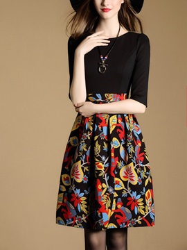 Print Half Sleeve Patchwork Day Dress
