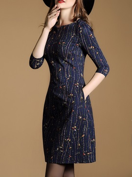 Floral 3/4 Sleeve Pocket Day Dress
