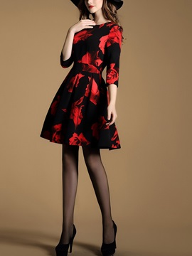 Floral Print 3/4 Sleeve A-Line Day Dress