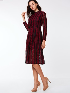 Stand Collar Floral A-Line Day Dress