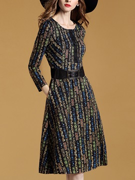 Nine Points Sleeve Patchwork Belt Day Dress