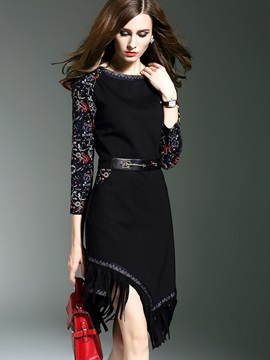 3/4 Sleeve Tassel Patchwork Asymmetrical Day Dress