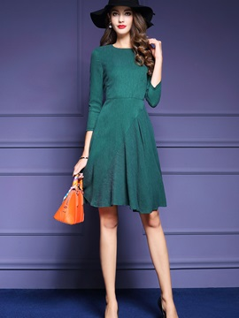 Solid Color Nine Points Sleeve OL Day Dress