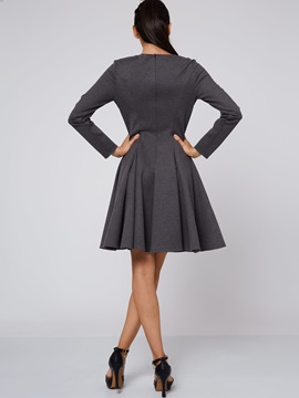 Plain Pullover A-Line Day Dress