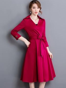 3/4 Sleeve Pleated Lace-Up Day Dress