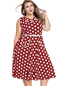 Polka Dots Belt Expansion Day Dress