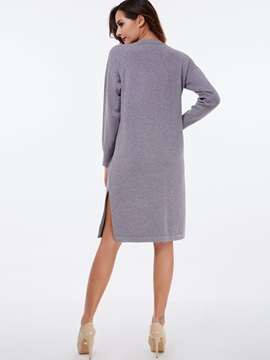 Pullover Round Neck Split Day Dress