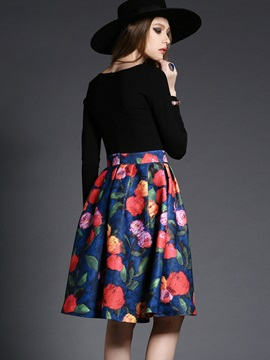 Floral Print Expansion Mid-Waist Day Dress