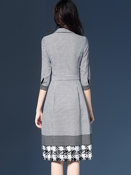 Houndstooth Polo Neck Print Day Dress