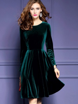 Solid Pullover A-Line Day Dress
