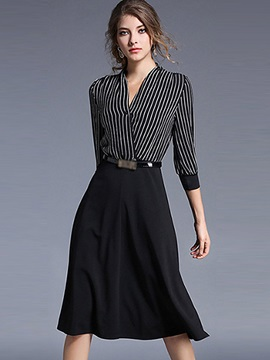 Vertical Striped V-Neck Patchwork Day Dress