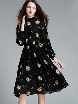 Floral Print Stand Collar Expansion Day Dress