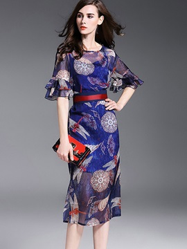 Floral Imprint Half Sleeve Knee Length Day Dress