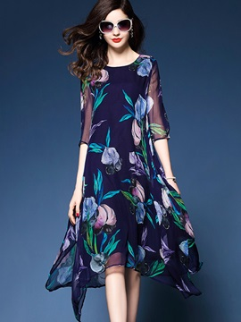 Half Sleeve Floral Imprint Chiffon Knee Length Day Dress