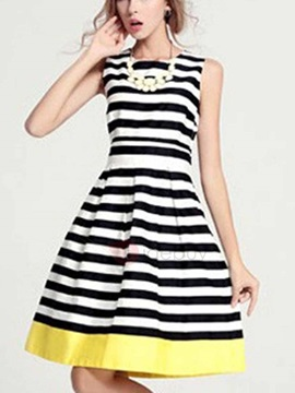 Strips Print Sleeveless Women's Dress