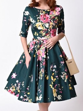 Chic Floral Imprint Round Neck Women's Skater Dress