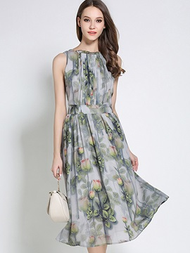 Print Sleeveless Chiffon Knee Length Day Dress