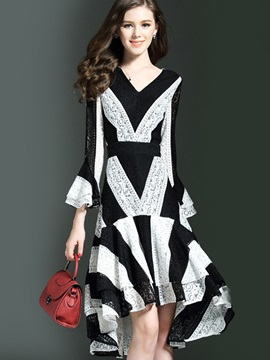 V Neck Long Sleeve Women's Knee Length Day Dress