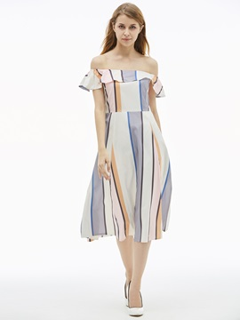 Slash Neck Color Block Women's A-Line Dress
