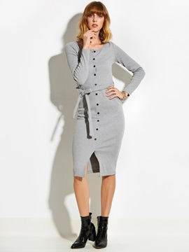 Single-breasted Long Sleeve Lace-Up Women's Bodycon Dress