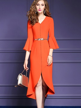 V-Neck Asymmetrical Flare Sleeve Women's Bodycon Dress