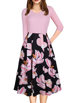 Floral Imprint Long Sleeve Women's Day Dress