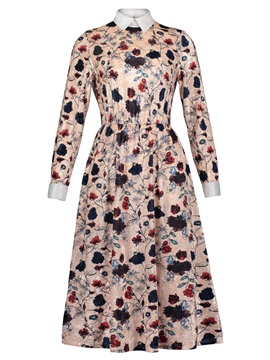 Polo Neck Floral Print Women's A-Line Dress