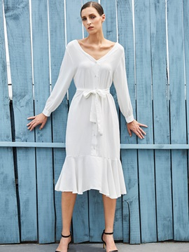 White V Neck Women's Knee Length Day Dress