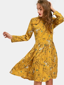 Floral Print Long Sleeve Women's Skater Dress