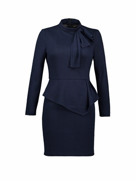 Double-Layer Bow Collar Long Sleeve Women's Bodycon Dress