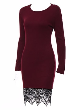 Above Knee Long Sleeve Round Neck Women's Bodycon Dress