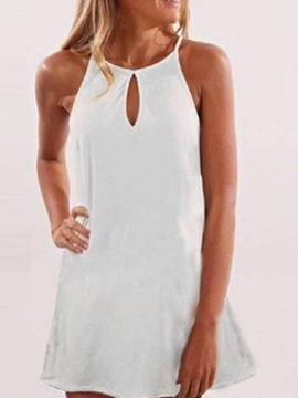 Above Knee Hollow Round Neck Summer Pullover Women's Casual Dress