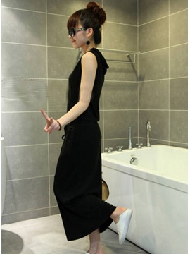 Hip Leisure Solid Color Hooded Pockets Dress