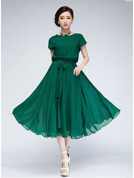 Exquisite Korean Style Solid Color Dress
