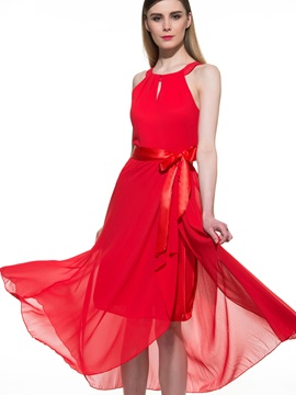 Elegant Sleeveless Pleated with Belt Long Chiffon Dress