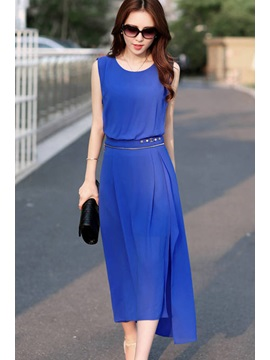 Round-Neck Sleeveless Zipper Decorated Waist Solid Color  Dress