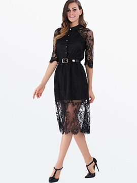 Hollow See-Through Lace Polo Neck Half Sleeve Day Dress