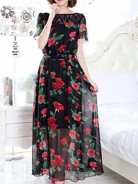 Floral Print Lace Patchwork Short Sleeve Day Dress