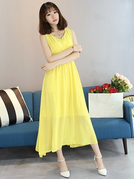 Solid Color Empire Waist Sleeveless Day Dress