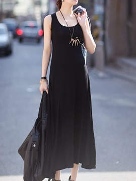 Plain Asymmetric Sleeveless Day Dress