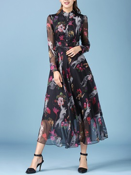 Floral Print Long Sleeve Patchwork Button Day Dress