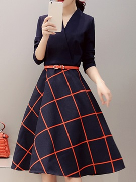 Plaid V-Neck Long Sleeve Ladylike Women's Skater Dress