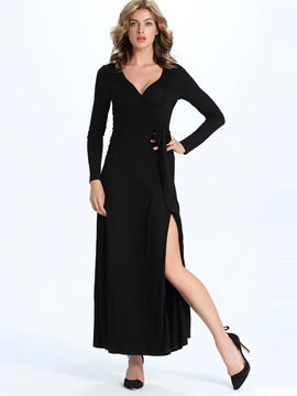 Solid Color V-Neck Split Women's Maxi Dress