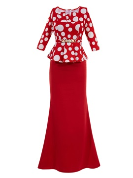Polka Dots Half Sleeve Women's Maxi Dress